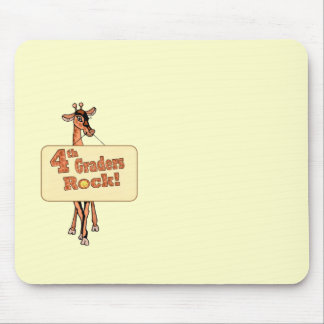 "Giraffe ""4th Graders Rock"" Design Mouse Pads"