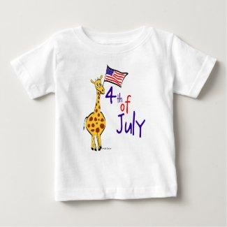 Giraffe 4th of July Baby T-Shirt