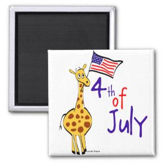 Giraffe 4th of July Fridge Magnets
