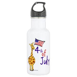 Giraffe 4th of July Stainless Steel Water Bottle