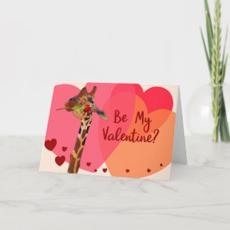 Giraffe A Red Rose Valentine's Day Greeting Card