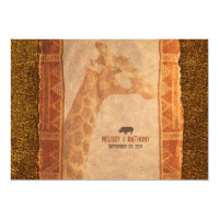 Giraffe African Safari Wedding Invitation