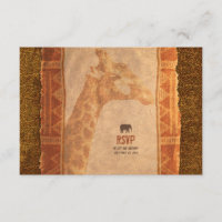 Giraffe African Safari Wedding RSVP Reply Card