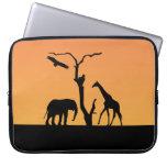 Giraffe african silhouette sunset laptop bag computer sleeves