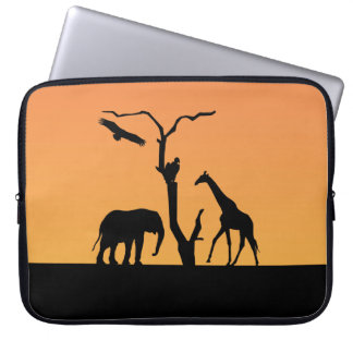 Giraffe african silhouette sunset laptop bag laptop sleeve