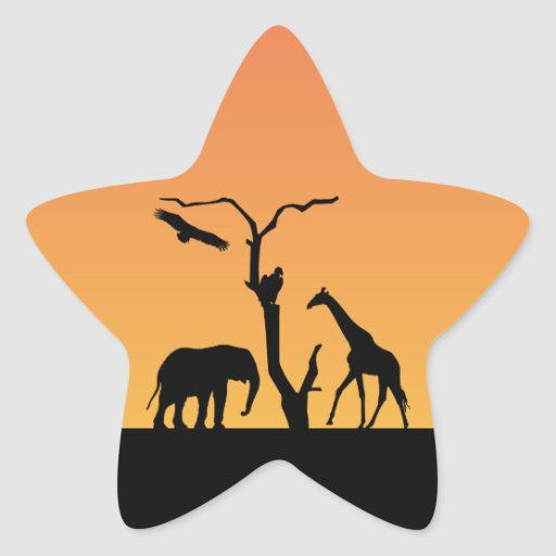 Giraffe african silhouette sunset sticker stickers