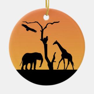 Giraffe african sunet silhouette ornament
