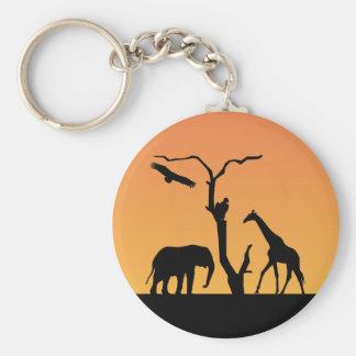 Giraffe african sunset silhouette keychain