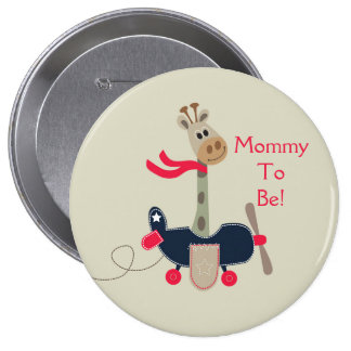 Giraffe Airplane Personalized Mommy to Be Button