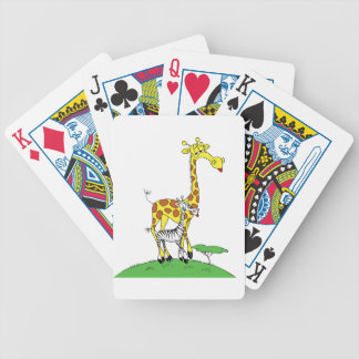 Giraffe And A Zebra Playing Cards