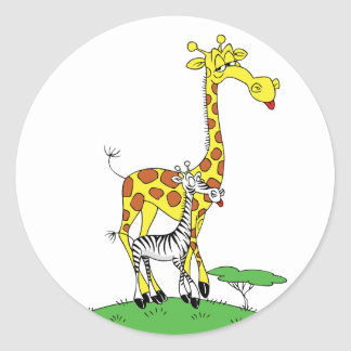 Giraffe And A Zebra Stickers Round Sticker
