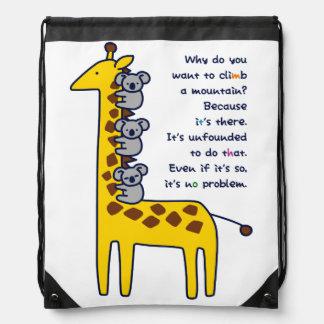 < Giraffe and adhering koala (for light-colored Drawstring Bag
