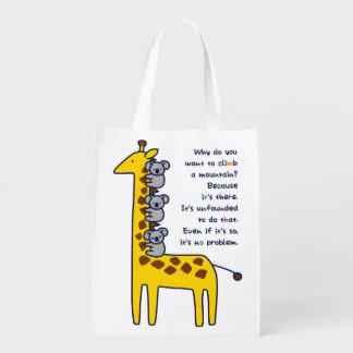 < Giraffe and adhering koala (for light-colored Reusable Grocery Bag