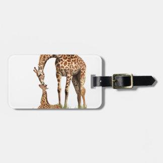Giraffe and baby calf kissing bag tag