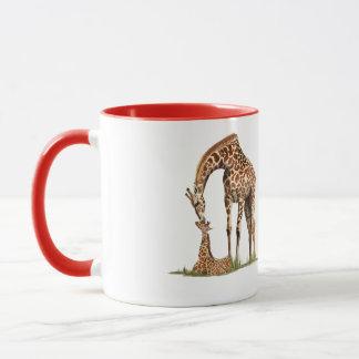 Giraffe and baby calf kissing mug