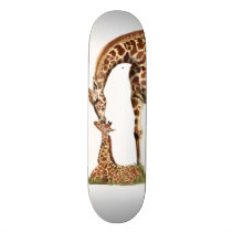 Giraffe and baby calf kissing skateboard deck