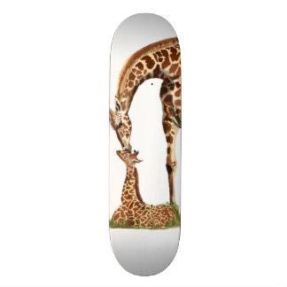 Giraffe and baby calf kissing skateboard deck