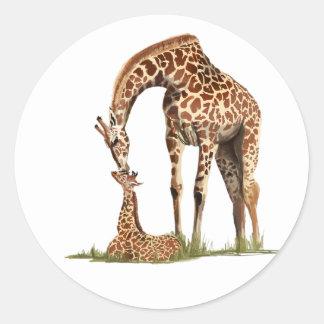 Giraffe and baby calf kissing classic round sticker