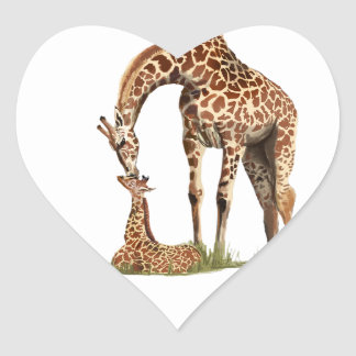 Giraffe and baby calf kissing heart sticker