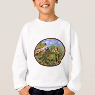 Giraffe and baby in oval frame sweatshirt