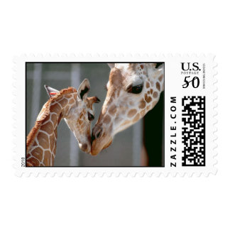 Giraffe and Baby postage stamp