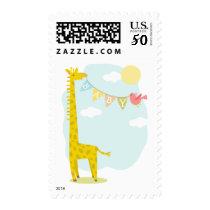 Giraffe and Bird Baby Banner Postage
