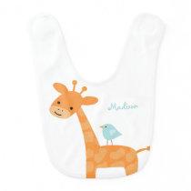 Giraffe and Blue Bird Personalized Baby Bib
