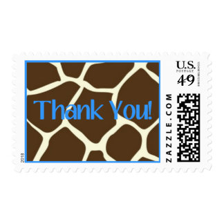 Giraffe and Blue Thank You Stamp