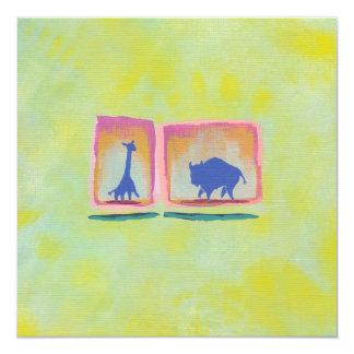 Giraffe and buffalo original art modern painting card