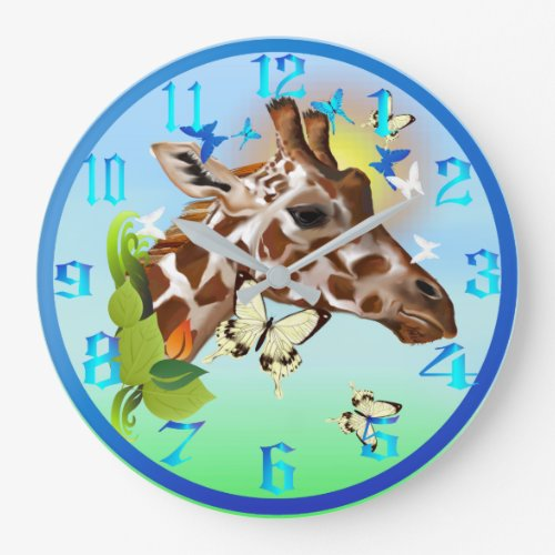 GIRAFFE and BUTTERFLIES Large Clock