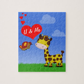 Giraffe and Butterfly in Love - Puzzle