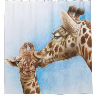 Giraffe and Calf Shower Curtain