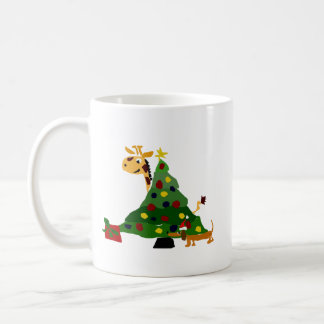 Giraffe and Dachshund by Christmas Tree Art Coffee Mug