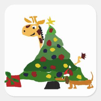 Giraffe and Dachshund by Christmas Tree Art Square Sticker