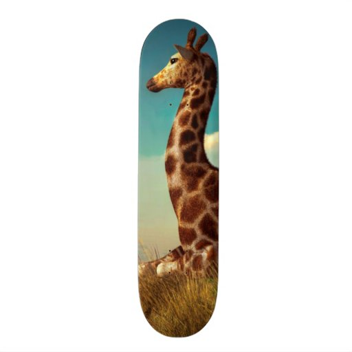 Giraffe and Distant Mountain Skate Deck