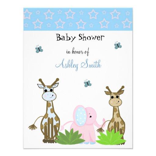 giraffe and elephant baby shower invitation x 5 5 invitation