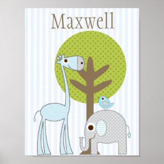 Giraffe and Elephant blue Boy baby room poster