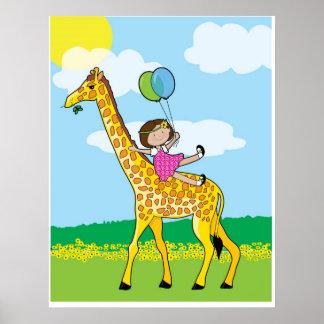 giraffe and girl poster