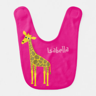 Giraffe and happy lion dual sided baby bib