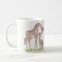 Giraffe and Her Calf design on a Mug / Cup