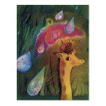 Giraffe and Ladybug*** Postcard