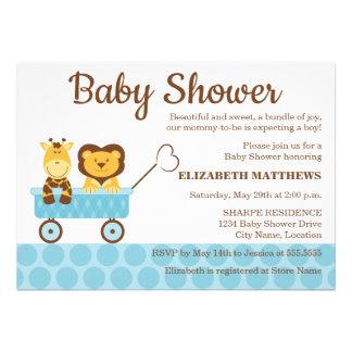 Giraffe and Lion Baby Shower Invitation