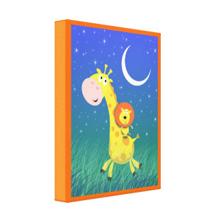 Giraffe and Lion Nursery Art Wrapped Canvas Print