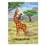Giraffe and Monkey Card