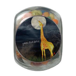Giraffe and Moon Custom Jelly Belly Candy jar Tin