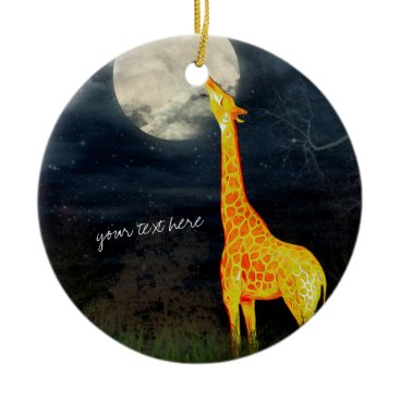 Christmas Themed Giraffe and Moon | Custom Ornament Decoration