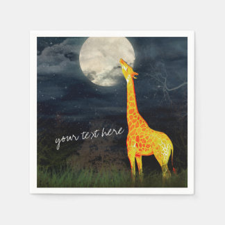 Giraffe and Moon | Custom Paper Napkins