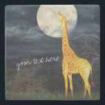 "Giraffe and Moon | Custom Stone Drink Coaster<br><div class=""desc"">What the moon tastes like? Giraffe and Moon 