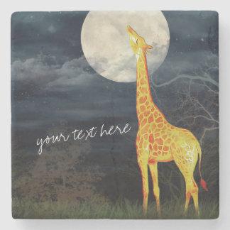 Giraffe and Moon | Custom Stone Drink Coaster