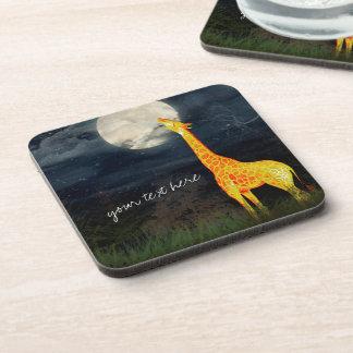 Giraffe and Moon Hard Plastic coasters cork back